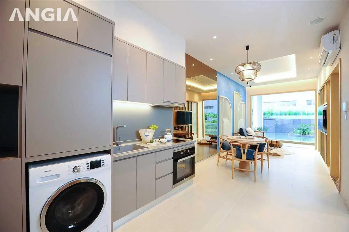 Phòng khách và khu vực bếp dự án căn hộ The Gió Riverside Bình Dương