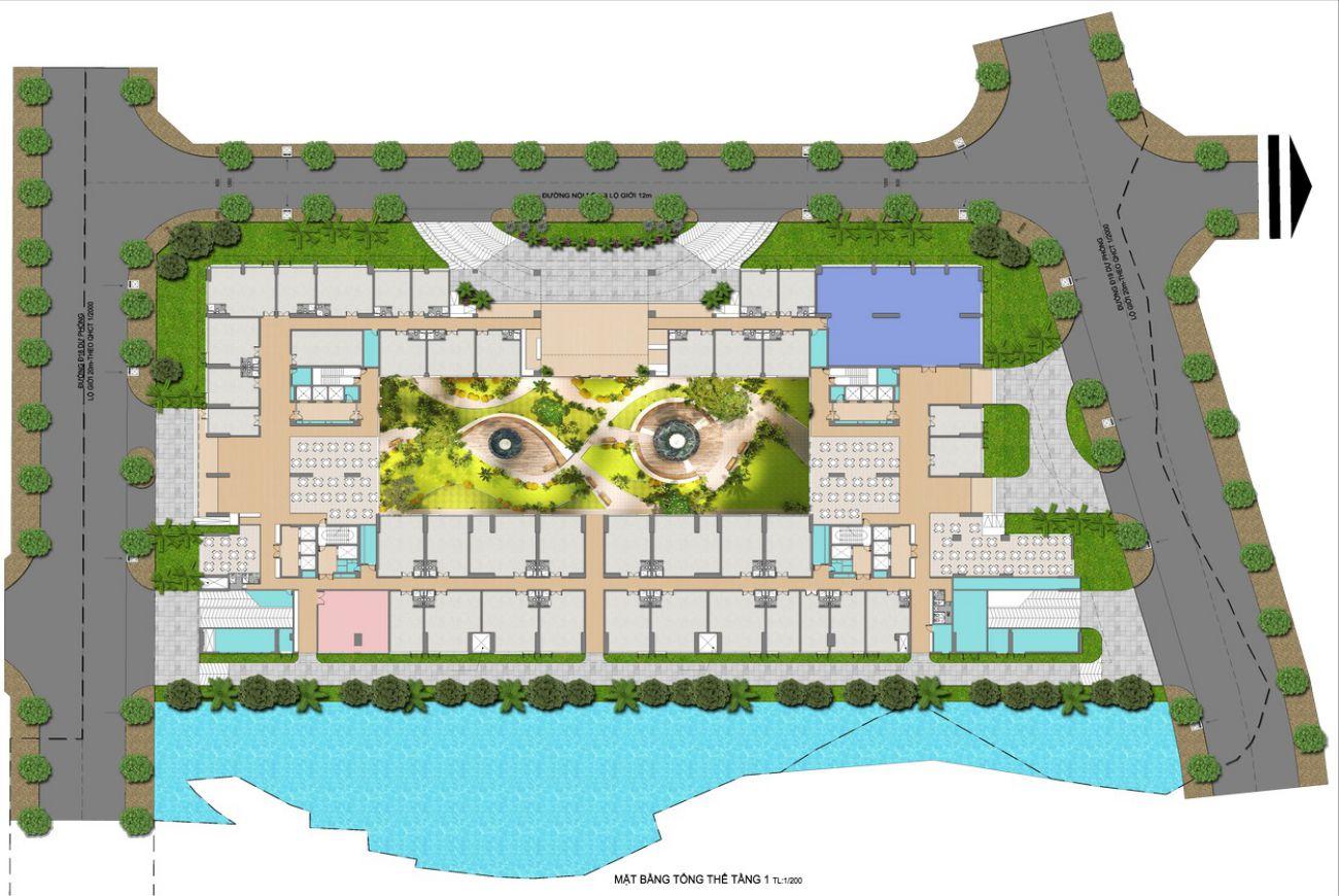 Mặt bằng tầng 1 dự án căn hộ Green Star Sky Garden quận 7