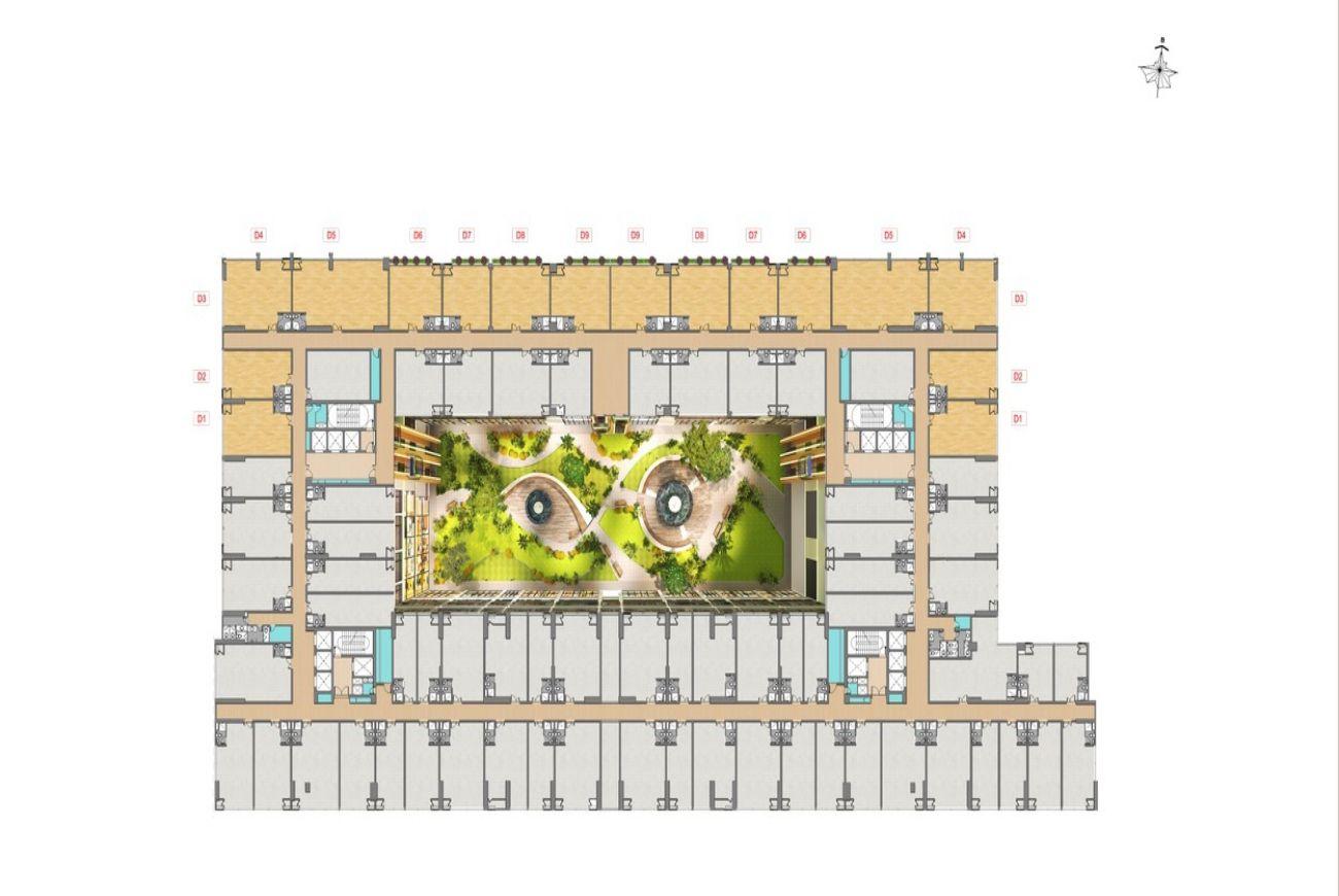 Mặt bằng tầng 4 dự án căn hộ Green Star Sky Garden quận 7