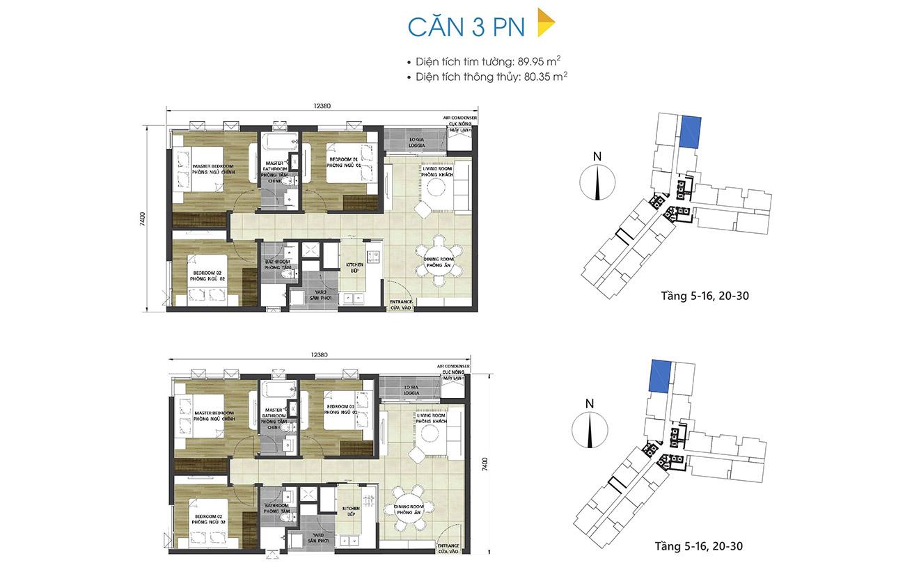 Thiết kế chi tiết căn hộ 3 phòng ngủ dự án D-Homme Quận 6 đường Hồng Bàng