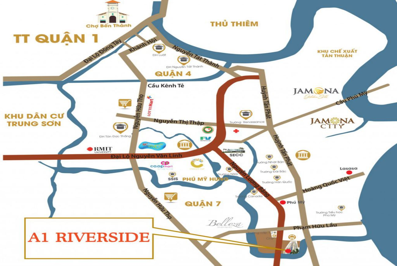 Vị trí A1 Riverside Quận 7