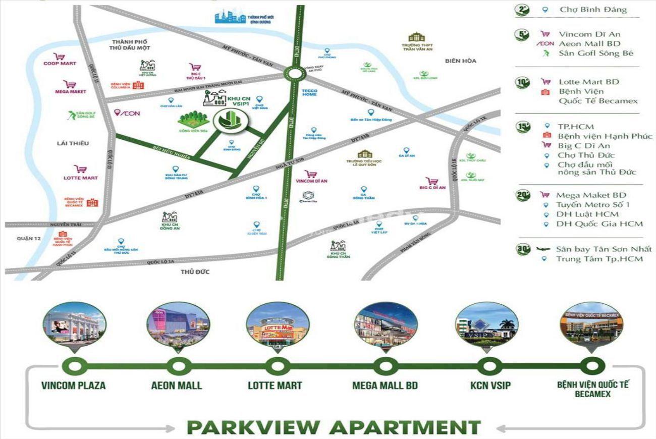 Vị trí căn hộ Parkview Apartment Bình Dương