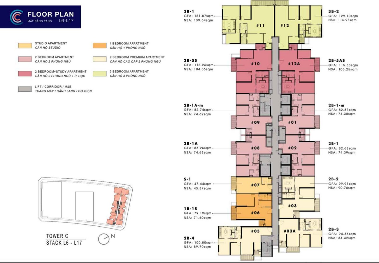 Mặt bằng dự án The Crest Residence Quận 2