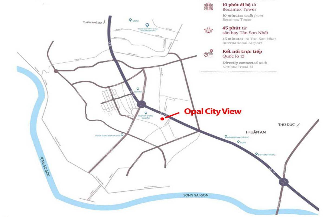 Vị trí căn hộ Opal Cityview Bình Dương