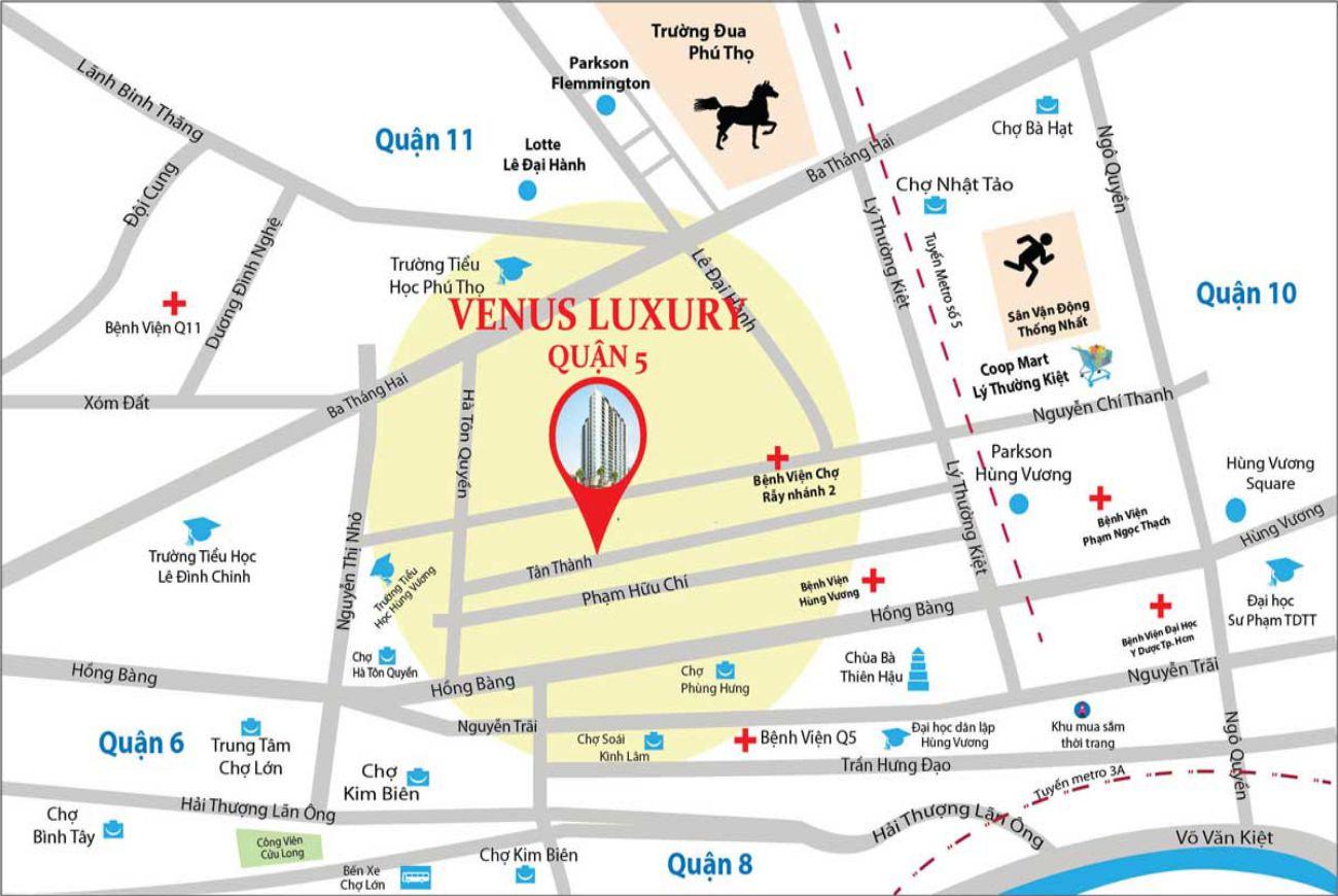 Vị trí căn hộ Venus Luxury Quận 5