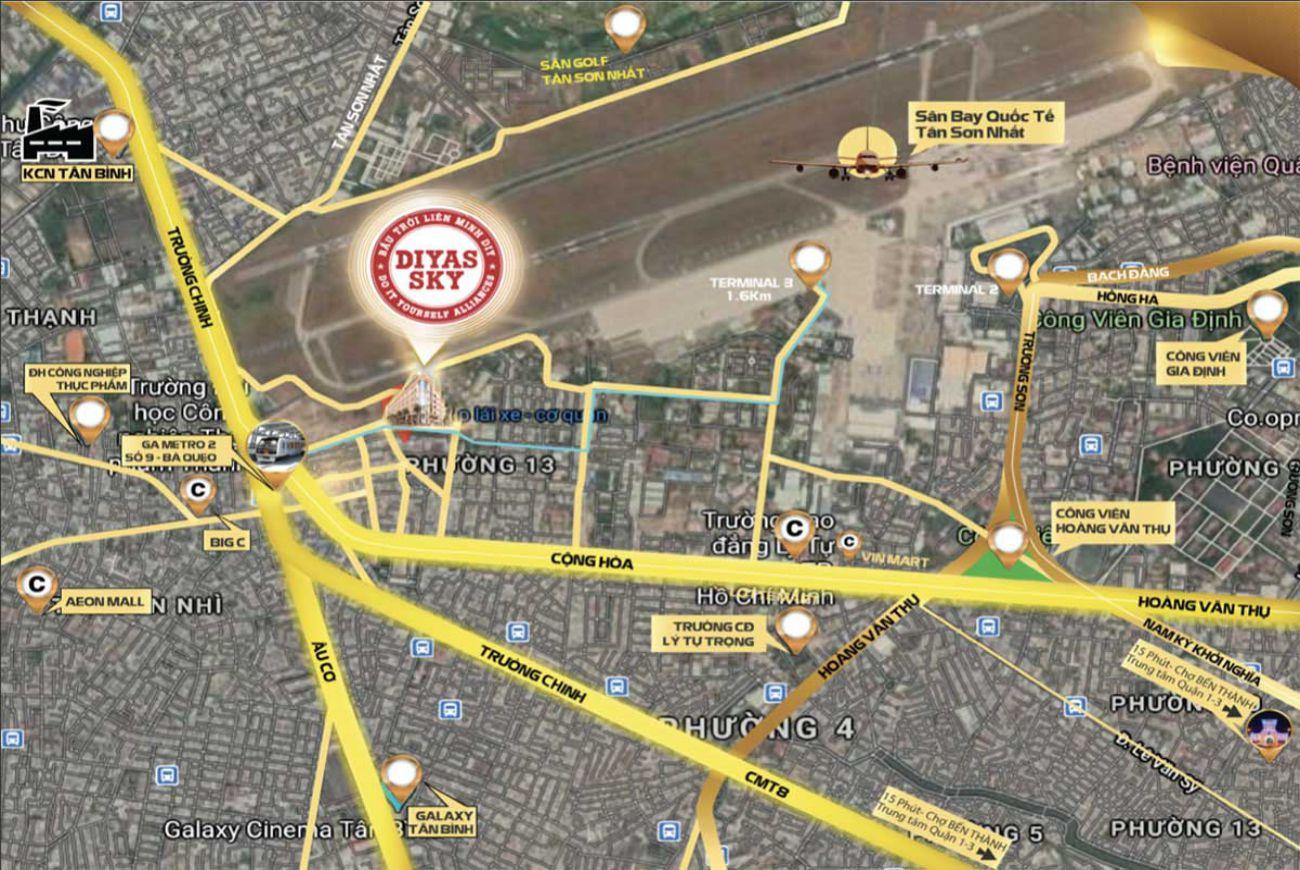Vị trí căn hộ Diyas Sky Tân Bình