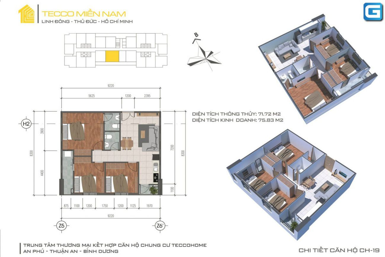 Thiết kế căn hộ Tecco Home An Phú