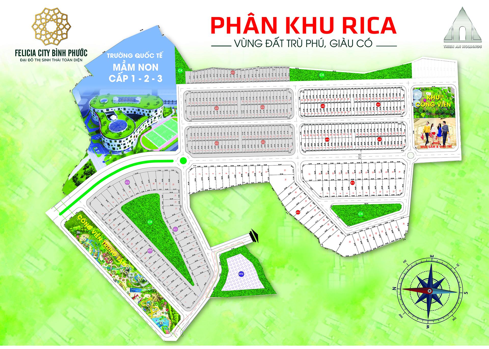 Mặt bằng dự án Felicia City Bình Phước