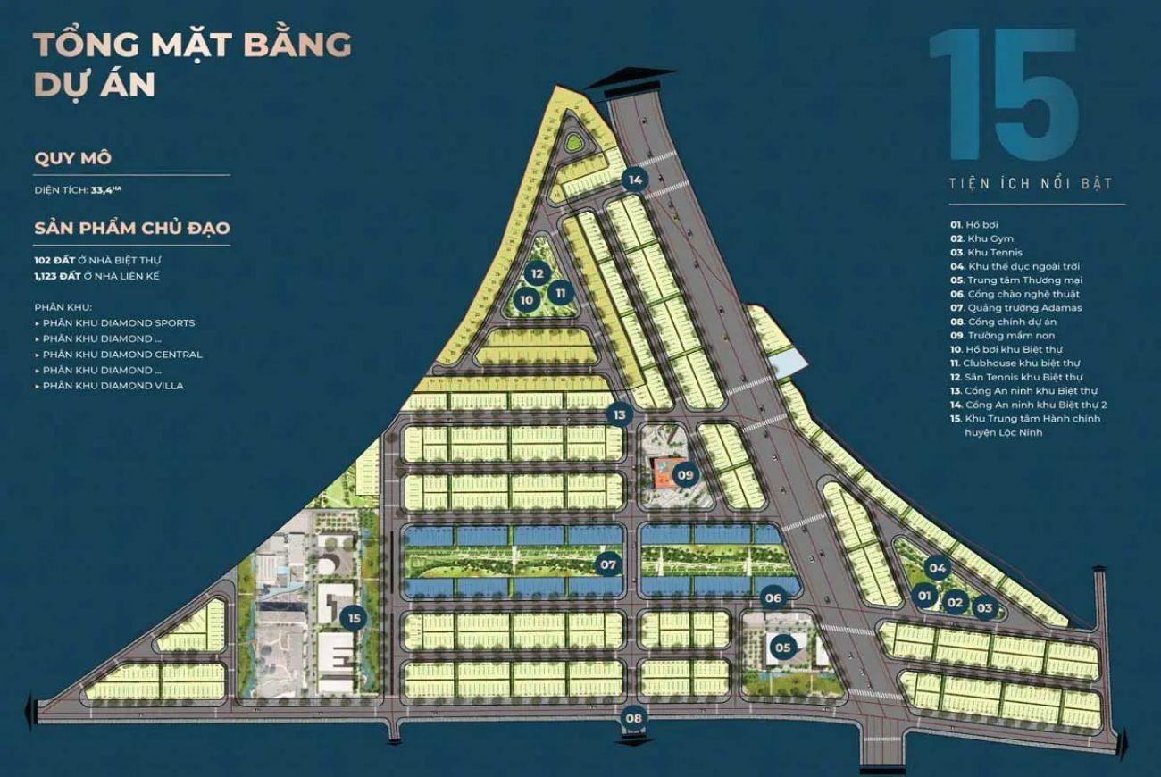 Mặt bằng dự án Diamond City Lộc Ninh