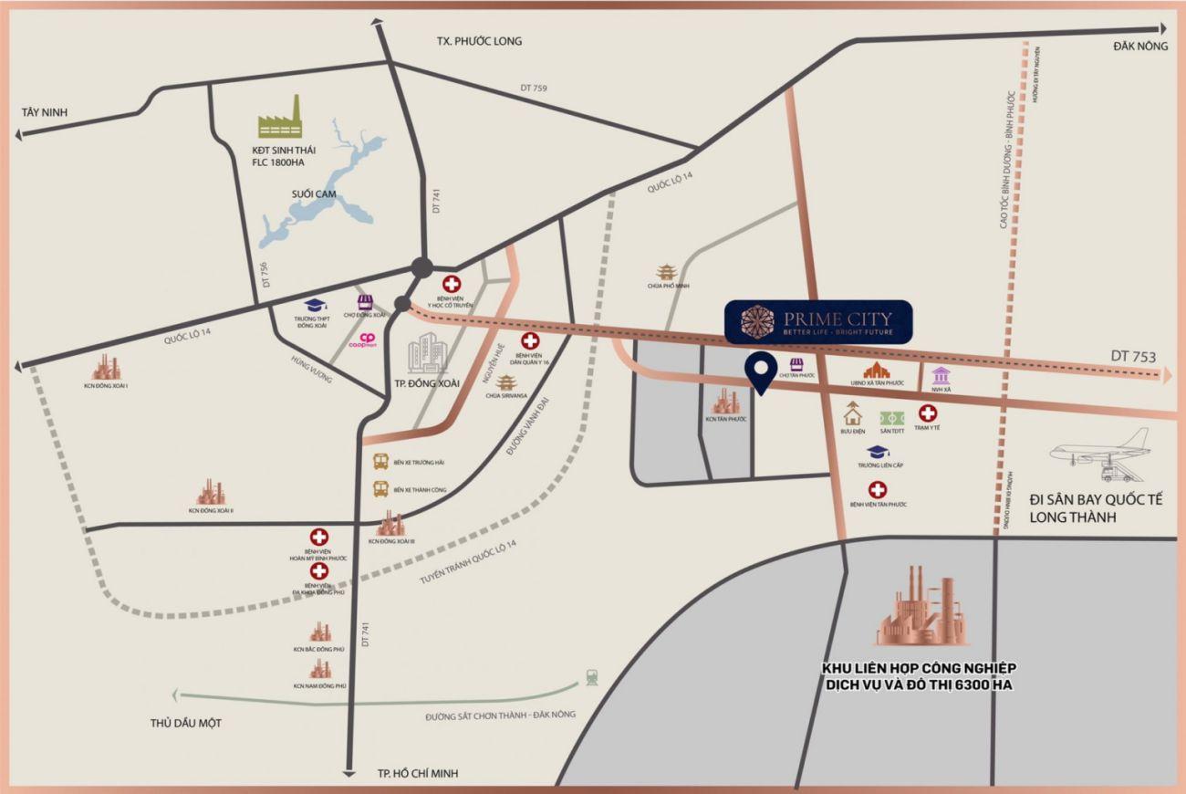 Vị trí Prime City Bình Phước