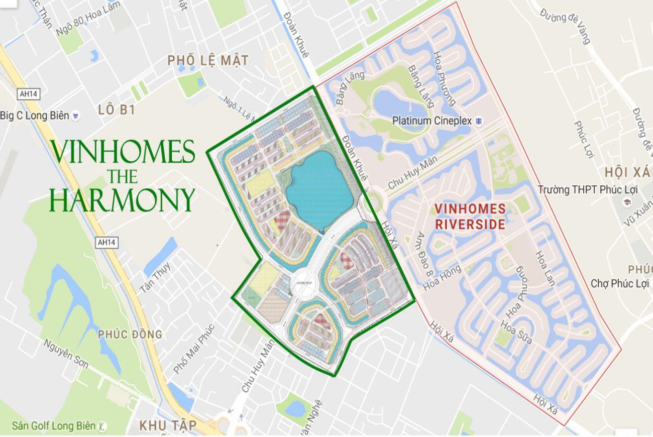 Vị trí Vinhomes Riverside The Harmony