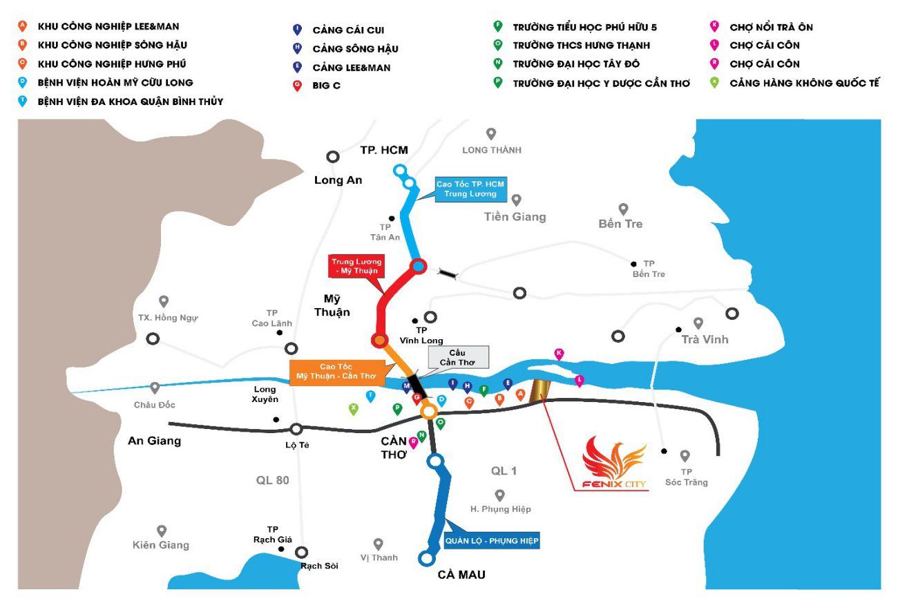 Vị trí chiến lược Fenix City Hậu Giang