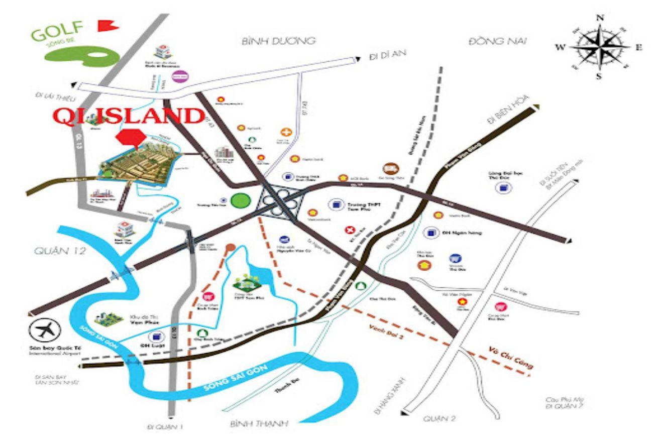Vị trí dự án Qi Island Bình Dương