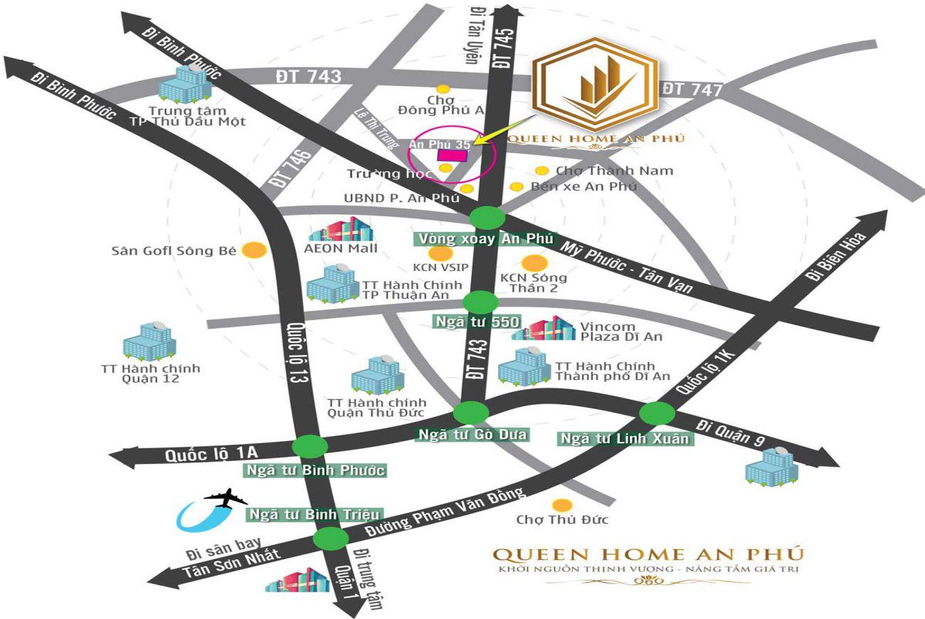 Vị trí chiến lược Queen Home An Phú