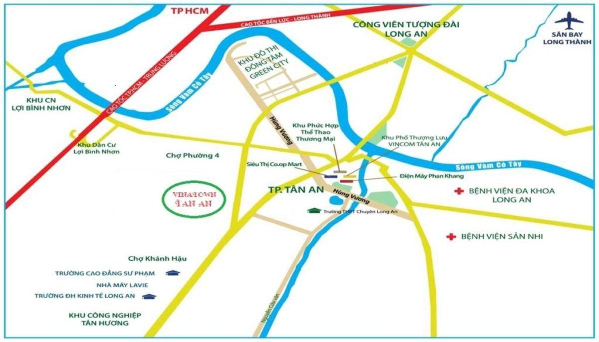 Vị trí dự án Vina Town Tân An Long An