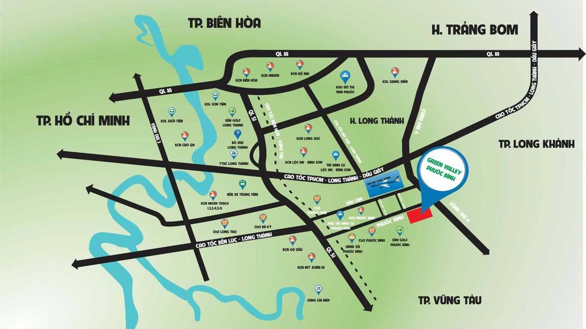 Vị trí dự án Green Valley Phước Bình Đồng Nai